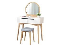 Toaletka Gaga biała - dąb z okrągłym lustrem i stołkiem