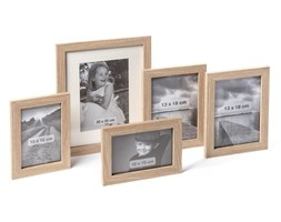 Ramka na zdjęcia 5 sztuk jasne drewno różne rozmiary