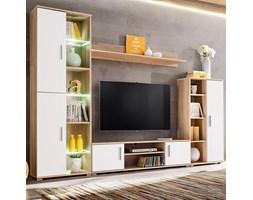 vidaXL Meblościanka pod TV z oświetleniem LED, dąb sonoma i biały