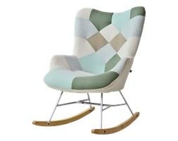 Fotel bujany Sibil patchwork 2 na bukowych płozach