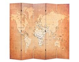 vidaXL Składany parawan, 200x170 cm, mapa świata, żółty