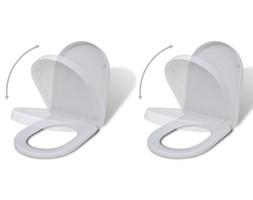 vidaXL Deski sedesowe wolnoopadające, 2 szt., plastikowe, białe