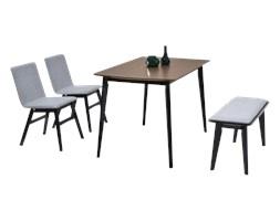 Stół z krzesłami Kantino orzechowy z ławką na czarnych nogach