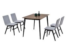 Stół z krzesłami Modero orzechowy na czarnych nogach