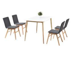 Stół z krzesłami Modero z białym blatem na dębowych nogach