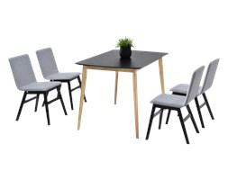 Stół z krzesłami Modero dąb z czernią