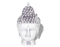 vidaXL Głowa Buddy dekoracyjna na ścianę, aluminium, srebrna