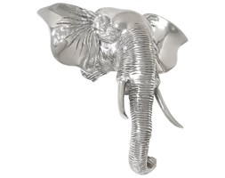 vidaXL Rzeźba głowy słonia, lite aluminium, 38 x 19 x 36 cm, srebrna