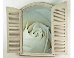 Mufida Okno Białe Przecierane Lustro Dekoracyjne VINTAGE J80x120cm