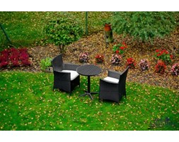 Komplet mebli ogrodowych stolik z krzesłami Paweł z technorattanu czarny