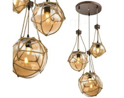 Marynistyczna LAMPA wisząca TIKO 15859-3H Globo zwieszana OPRAWA kaskada szklane kule balls liny sznur rdza przezroczyste