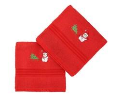 Zestaw 2 czerwonych świątecznych ręczników Snowy, 70x140 cm
