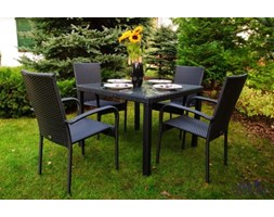 Zestaw mebli ogrodowych stół i krzesła z technorattanu Edward czarny