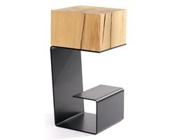 Stolik EGON czarny - blat dębowy, podstawa metalowa 23,5x23,5x50