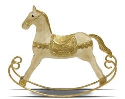 KOŃ NA BIEGUNACH dekoracja metalowa złota, 13x15 cm