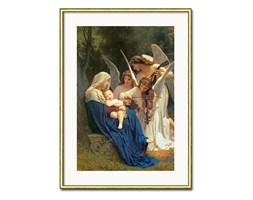 WILLIAM ADOLPHE BOUGUEREAU - PIEŚŃ ANIOŁÓW obraz w złotej ramie za szybą, 31x41 cm