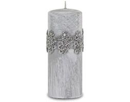 VENEZIA świeca szara z koronką, wys. 18 cm