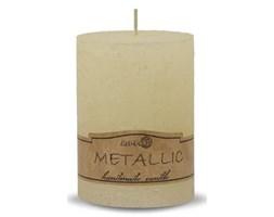 RUSTIC świeca pieńkowa metal ecru, wys. 9 cm