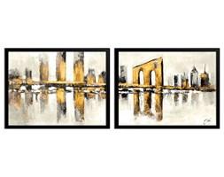 YELLOW CITY - GEOMETRYCZNE MIASTO komplet dwóch obrazów w wymiarach 33x43 cm
