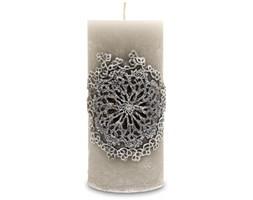 ROZETTE świeca szara, zapach wanilia, wys. 15 cm, Ø 7 cm