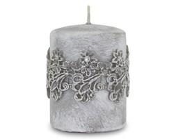 VENEZIA świeca szara z koronką, wys. 10 cm