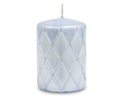 FLORENCJA świeca pikowana niebieska lakierowana, wys. 10 cm