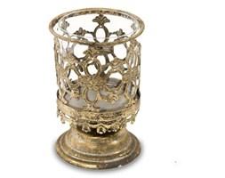 DORITA świecznik metalowy stare złoto z kloszem, wys 15 cm