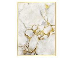 ZŁOTY MARMUR NA BIAŁYM obraz ręcznie malowany w złotej ramie, 53x73 cm