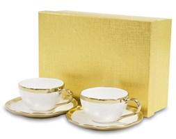 GOLD komplet dwóch filiżanek do espresso z podstawkami