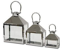 SILVER lampiony srebrne metalowe glamour, komplet 3 sztuk, wys. 25/32/43 cm