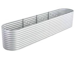 vidaXL Donica ogrodowa z galwanizowanej stali, 400x80x81 cm, srebrna