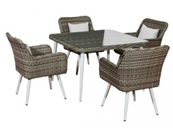 Zestaw mebli ogrodowych stół i krzesła Norfolk z tehnorattanu szary melanż