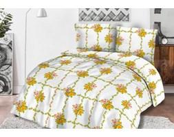 Pościel flanelowa 200x220 31450/2 biała różyczki żółte