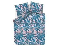 Pościel satynowa 160x220 1446/1 liście palmy niebieskie różowe Satynlove