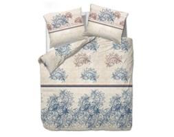 Pościel satynowa 200x220 1455/1 kwiatowy ornament beżowy niebieski Satynlove