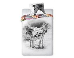 Pościel bawełniana 160x200 Wild Zebra zebry biała czarna kolorowe paski
