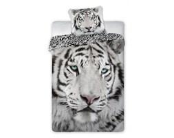Pościel bawełniana 160x200 Wild Tygrys syberyjski biała czarna panterka