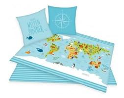 Pościel bawełniana 140x200 Mapa Świata kontynenty