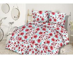 Pościel flanelowa 160x200 31451/1 czerwone różyczki turkusowe listki
