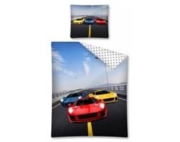 Pościel bawełniana 140x200 Samochody rajdowe 9065 czerwony żółty niebieski