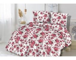 Pościel flanelowa 160x200 31451/2 czerwone różyczki beżowe listki