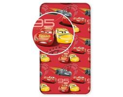 Prześcieradło bawełniane z gumką 90x200 Cars Auta Zygzak McQueen czerwone