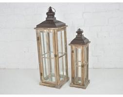 DREWNIANA LATARNIA LAMPION LAMPA RETRO ZESTAW 2SZT