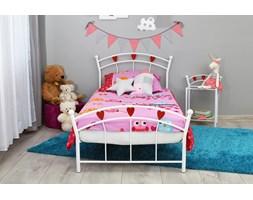 Metalowe łóżko dziecięce LOVLIK z czerwonymi serduszkami