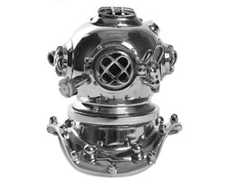 Diver Helmet Silver 16x18x19cm dekor
