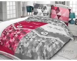 Pościel bawełniana szara + różowa My Side 160x200 – geometryczny wzór
