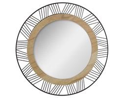 Okrągłe lustro przeznaczone do montażu ściennego wyposażone w dekoracyjną ramkę z drewna i metalu.