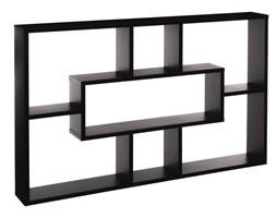 Półka ścienna, nowoczesny czarny regał wiszący z 7 przegródkami