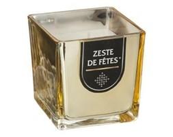 Szklany świecznik w kolorze złotym, wysokiej jakości świeca zapachowa w ozdobnej osłonce