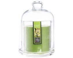 Świeca zapachowa kiwi w świeczniku z kloszem, kominek zapachowy z owocową nutą aromatyczną